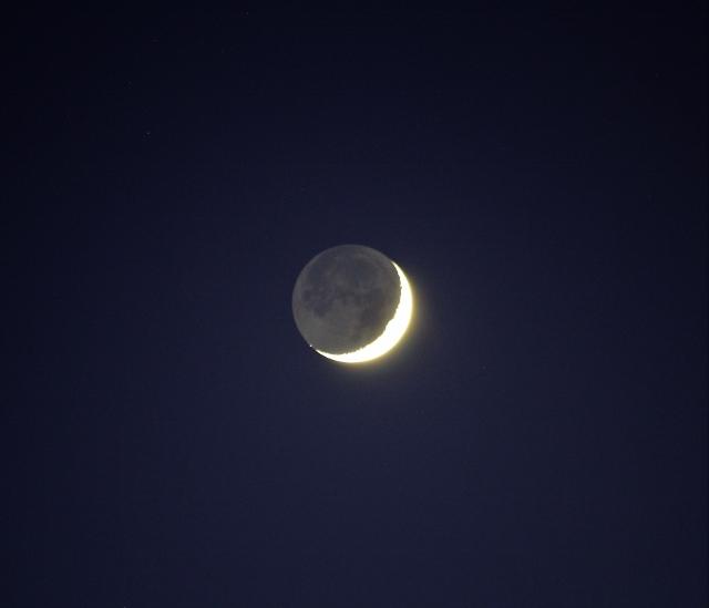 Lune et Vvénus ; lumière cendrée