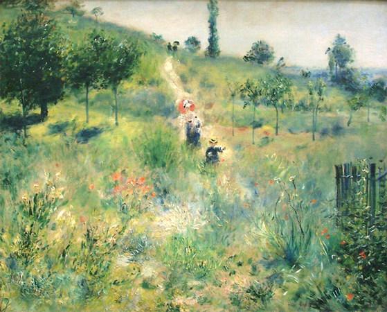Chemin montant dans les hautes herbes