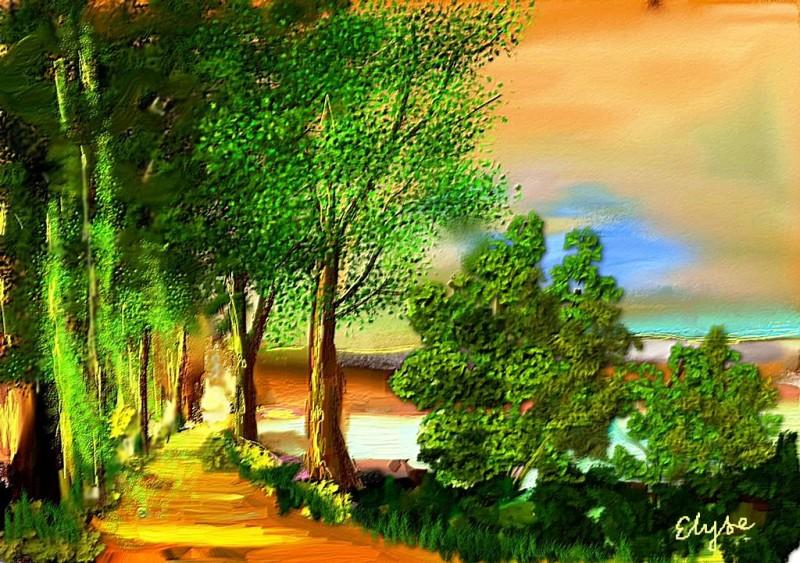 Sentier au soleil couchant