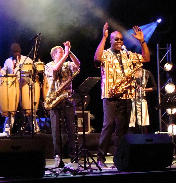 Manu Dibango en fête, concert en 2008.