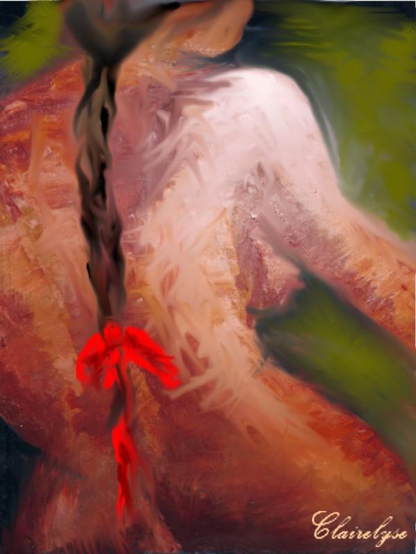 la femme au ruban rouge
