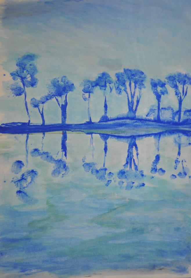 Reflets, tryptique en bleu, nº1