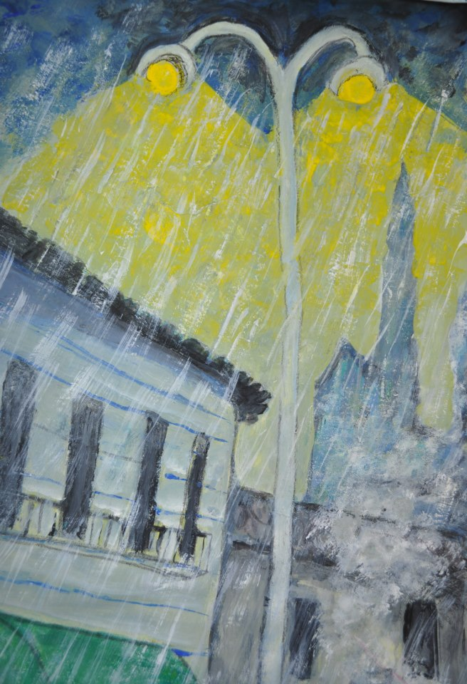 rue, effet de pluie