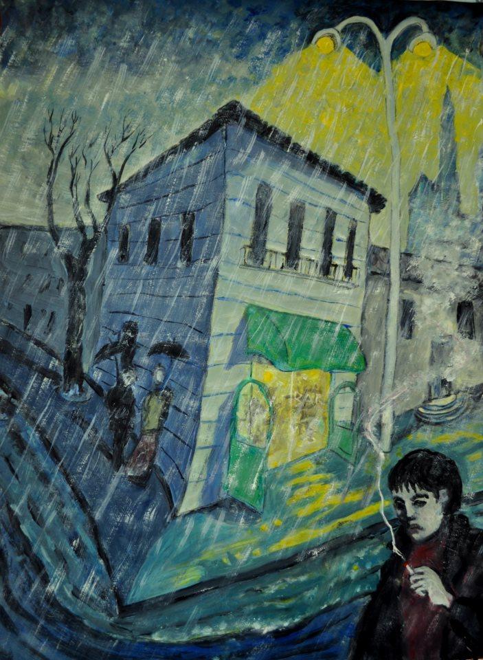 Rue, effet de pluie et perspective en losange